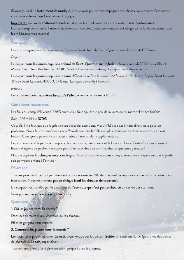 Camps ski 2020, informations pratiques 2