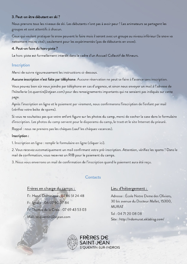 Camps ski 2020, informations pratiques 3